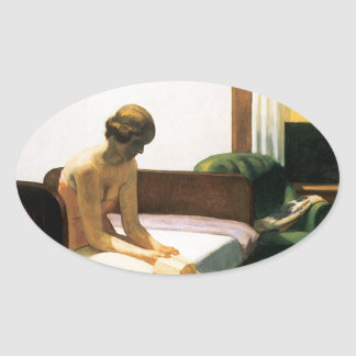 Edward Hopper Hotel Room Oval Sticker