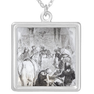 Edward II  and the Minstrel Square Pendant Necklace