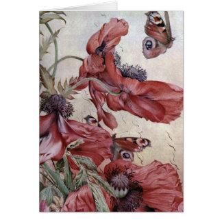 Edward Julius Detmold Poppies And Butterflies Greeting Card