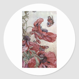 Edward Julius Detmold Poppies And Butterflies Classic Round Sticker