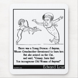 """Edward Lear """"Young Person of Smyrna"""" Limerick Mouse Pad"""