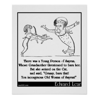 """Edward Lear """"Young Person of Smyrna"""" Limerick Poster"""