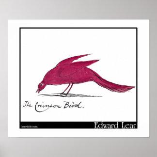 Edward Lear's Crimson Bird Poster