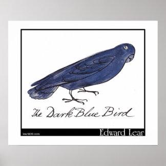 Edward Lear's Dark Blue Bird Poster