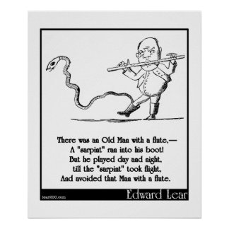 Edward Lear's Old Man with a flute Limerick Poster