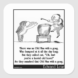 Edward Lear's Old Man with a gong Limerick Square Sticker