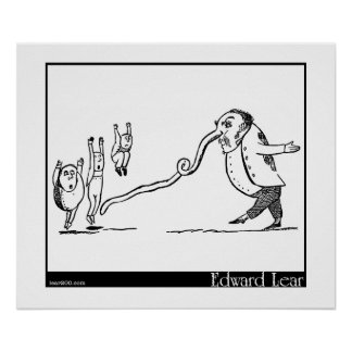 """Edward Lear's """"Old Man With a Nose"""" Illustration Print"""