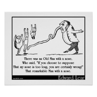 """Edward Lear's """"Old Man With a Nose"""" Limerick Poster"""