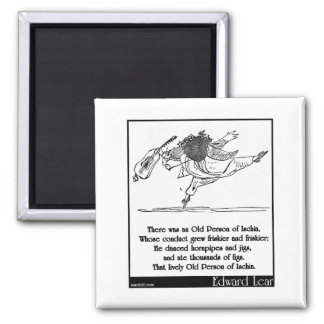 Edward Lear's Old Person of Ischia Limerick 2 Inch Square Magnet