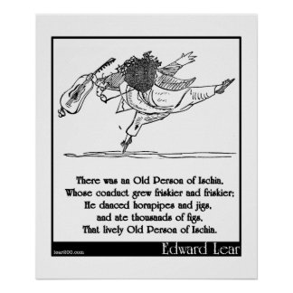 Edward Lear's Old Person of Ischia Limerick Poster