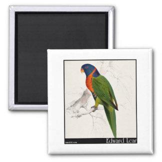 Edward Lear's Scarlet-Collared Parakeet Refrigerator Magnets