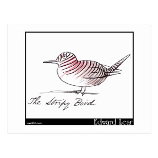 Edward Lear's Stripy Bird Postcard