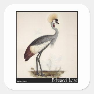 Edward Lear's Wattled Crown Crane Square Sticker