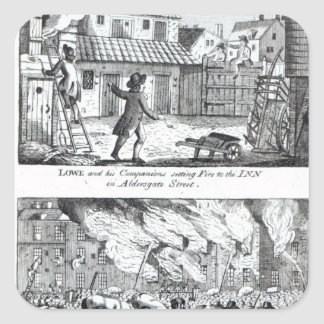 Edward Lowe and his companions setting fire Square Sticker