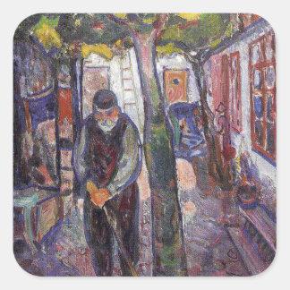Edward masca la pintura del arte pegatinas cuadradases