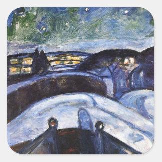 Edward Munch Art Painting Square Sticker