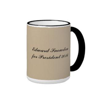 Edward Snowden for President 2016 Ringer Coffee Mug