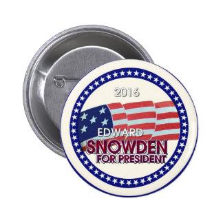 Edward Snowden para el presidente 2016 Pin Redondo De 2 Pulgadas