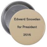 Edward Snowden para el presidente 2016 Pins