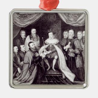 Edward VI que concede la carta Adorno Navideño Cuadrado De Metal