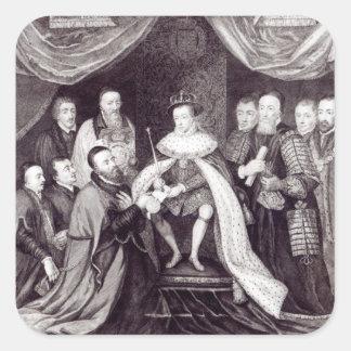 Edward VI que concede la carta Pegatina Cuadrada