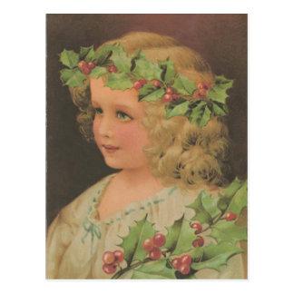 Edwardian Child Holly Christmas Postcard