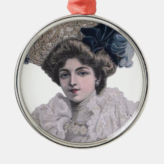 Edwardian Fashionable lady in blue hat Metal Ornament