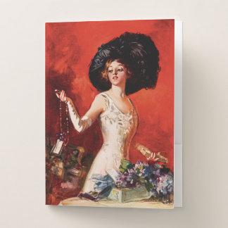 Edwardian Glamor Girl Pocket Folder
