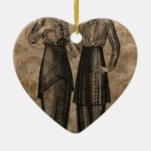EDWARDIAN LADIES.jpg Double-Sided Heart Ceramic Christmas Ornament