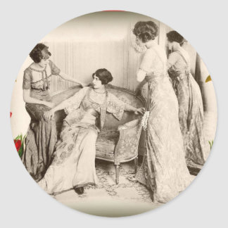 Edwardian Ladies with Roses Classic Round Sticker