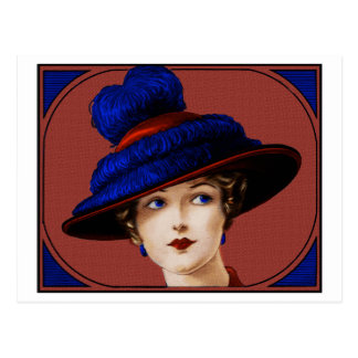 Edwardian Lady - Burgundy and Blue Hat Postcard