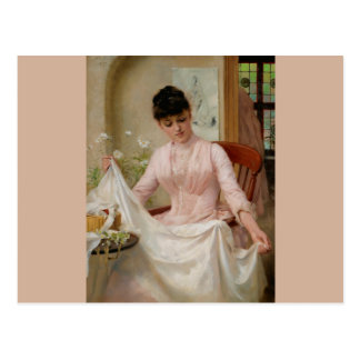Edwardian Lady Folding Laundry Postcard