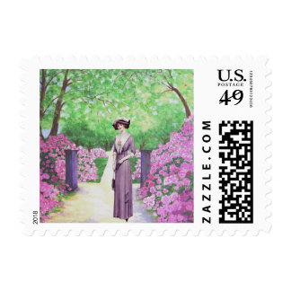 Edwardian Lady in the Rhododendron Garden Stamp