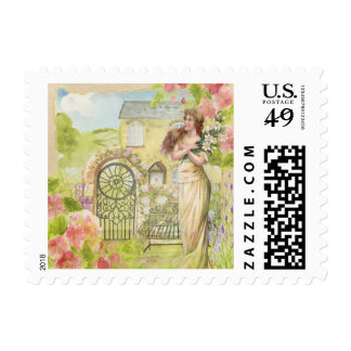 Edwardian Maiden in the Flower Garden Stamp