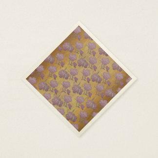 Edwardian Style Dusty Plum Flowers on Gold Silk Paper Napkin