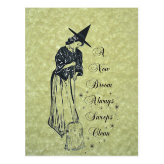 Edwardian Witch - A New Broom *Always* Sweeps Clea Postcard