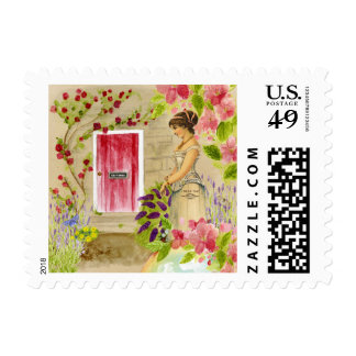Edwardian Woman by the Red Door Flower Stamp