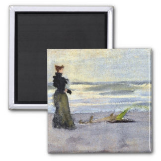 Edwardian Woman on Beach 2 Inch Square Magnet