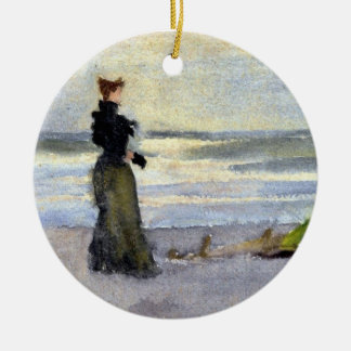 Edwardian Woman on Beach Ceramic Ornament