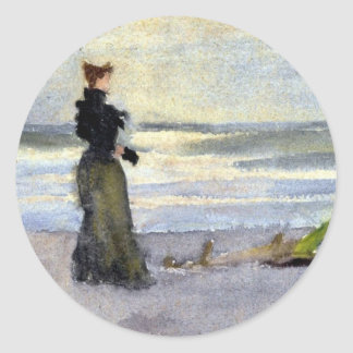 Edwardian Woman on Beach Classic Round Sticker