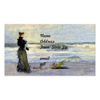 Edwardian Woman on Beach Double-Sided Standard Business Cards (Pack Of 100)