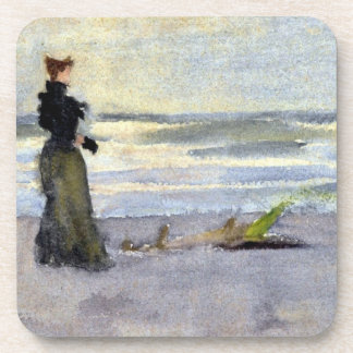 Edwardian Woman on Beach Drink Coaster
