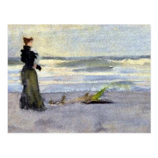 Edwardian Woman on Beach Postcard