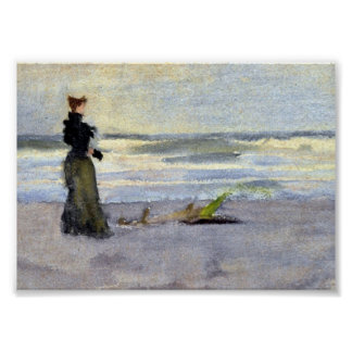 Edwardian Woman on Beach Poster
