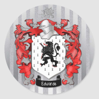 Edwards Coat of Arms on Silver Classic Round Sticker