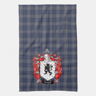 Edwards Family Crest and Tartan Hand Towels