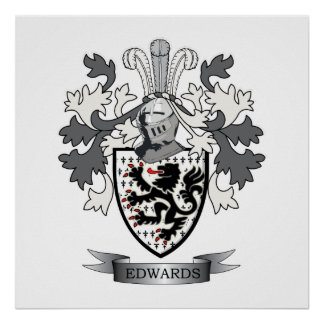 Edwards Family Crest Coat of Arms Poster