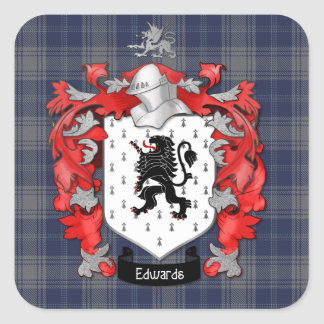 Edwards Family Crest & EdwardsTartan Square Sticker