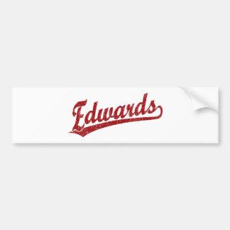 Edwards script logo in red car bumper sticker