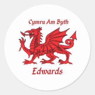 Edwards Welsh Dragon Classic Round Sticker